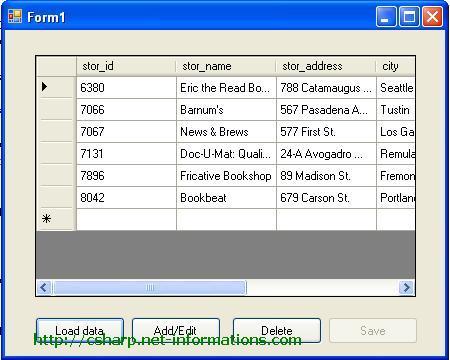 C# DataGridView Database Operations