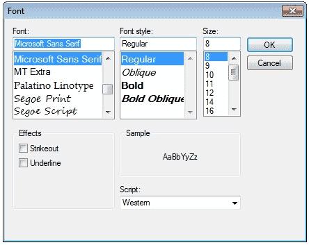 C Font Dialog Box